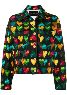 Versace heart print denim jacket
