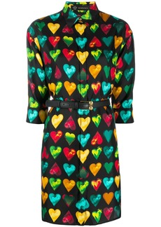 Versace heart print shirt dress