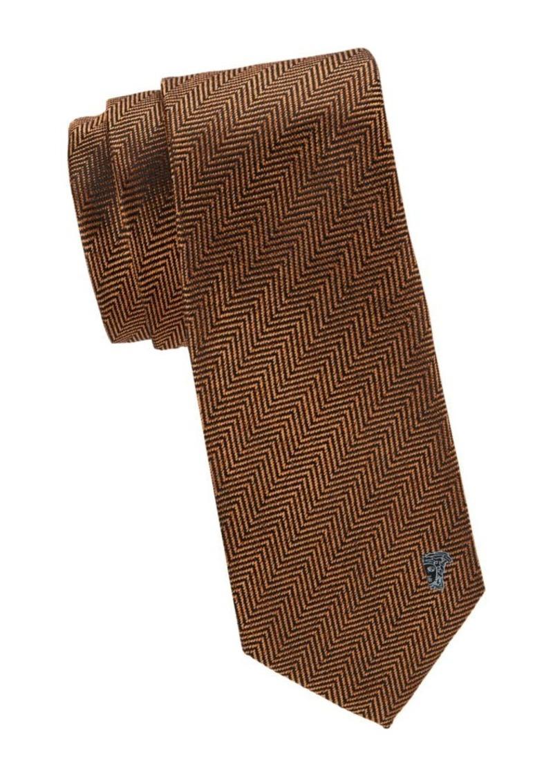 Versace Herringbone Silk Tie