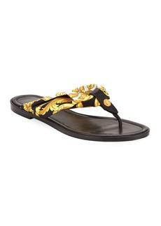 Versace Hibiscus-Print Flat Sandals