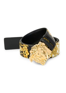 Versace Gold Hibiscus Print Palazzo Leather Belt with Medusa Buckle