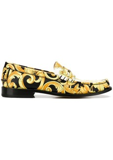 Versace Hibiscus print leather loafers