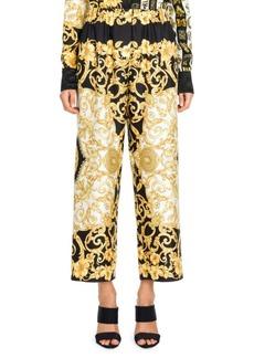 Versace Hibiscus Print Silk Pants