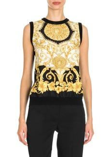 Versace Hibiscus Print Silk Top