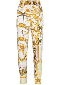 Versace High rise jeans with marine print