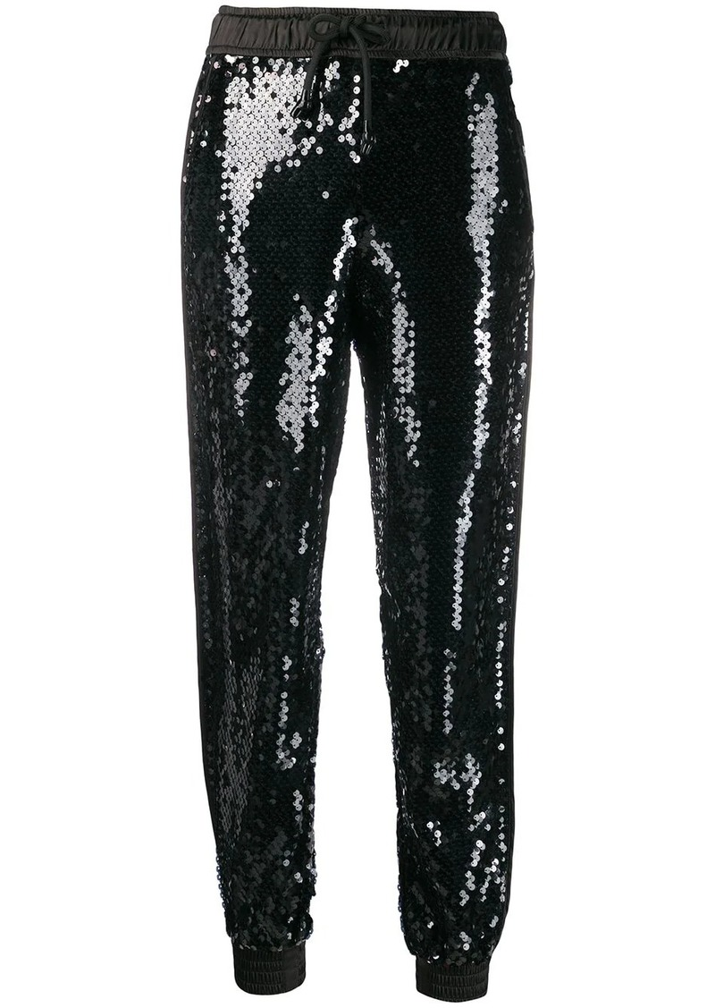 Versace high-rise sequin embellished track pants