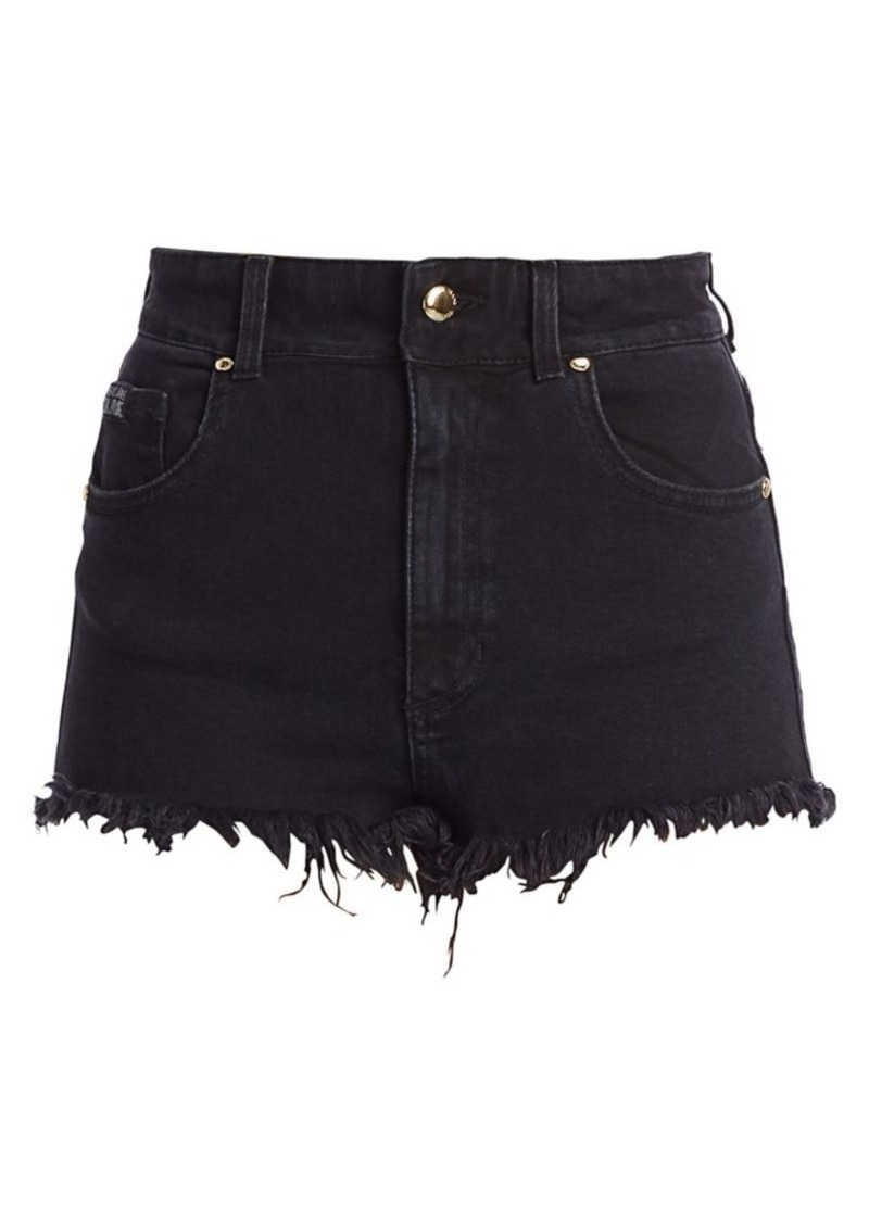Versace High-Waist Frayed Jean Shorts