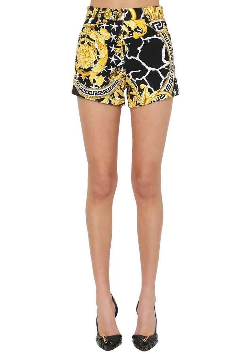 Versace High Waist Printed Cotton Denim Shorts