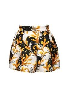 Versace High Waist Printed Silk Twill Shorts