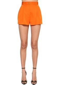 Versace High Waist Wool Blend Gabardine Shorts