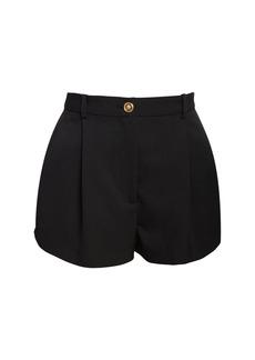 Versace High Waist Wool Gabardine Shorts