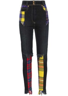 Versace high waisted plaid patch cotton-blend jeans
