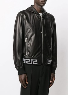 Versace hooded leather jacket