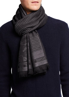 Versace Houndstooth Wool Scarf