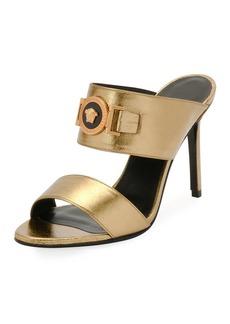 Versace Icon Medusa Metallic Leather Mule Slide Sandals
