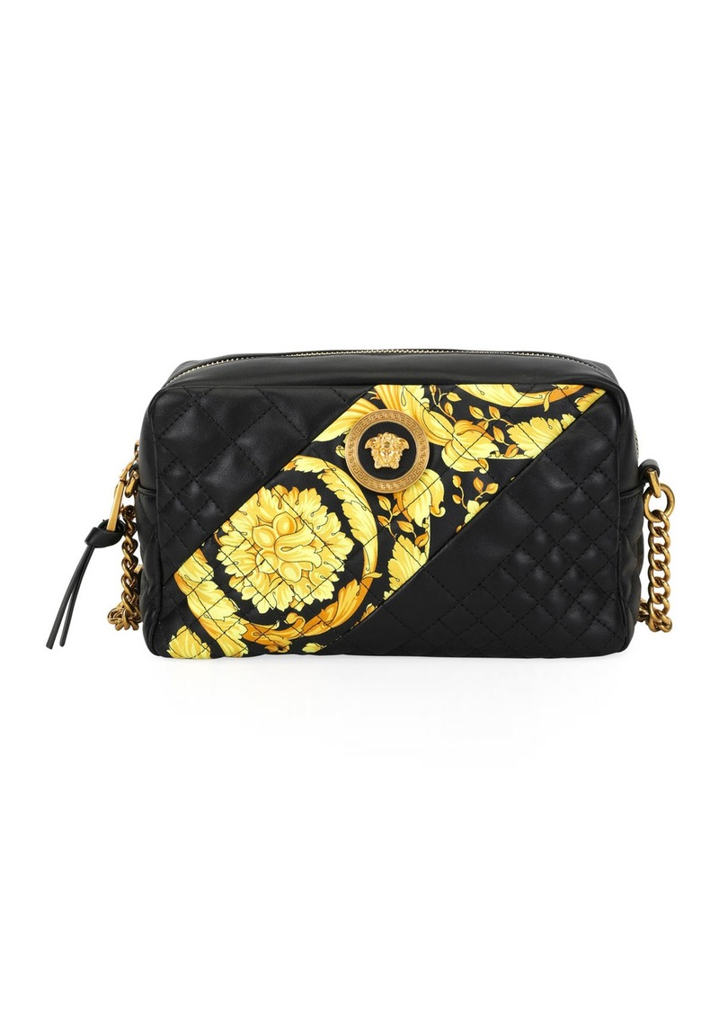 Versace Icon Small Quilted Napa Camera Bag with Barocco Print