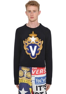 Versace Intarsia Crewneck Cotton Sweater