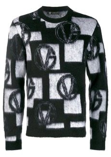 Versace jacquard knitted logo sweater