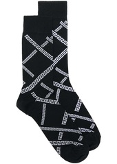 Versace jacquard logo knit socks