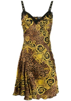 Versace jacquard mixed print mini dress