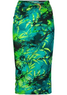 Versace Jungle-print gathered-waist fitted skirt
