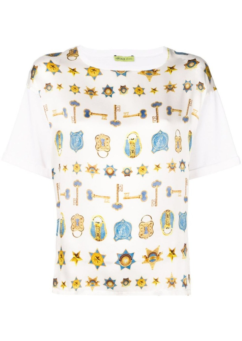 Versace key & padlock printed T-shirt