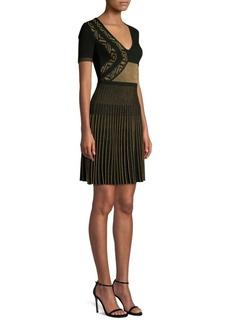 Versace Knit Metallic Fit-&-Flare Dress