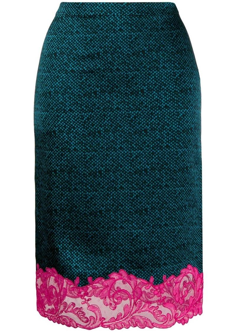 Versace lace hem pencil skirt