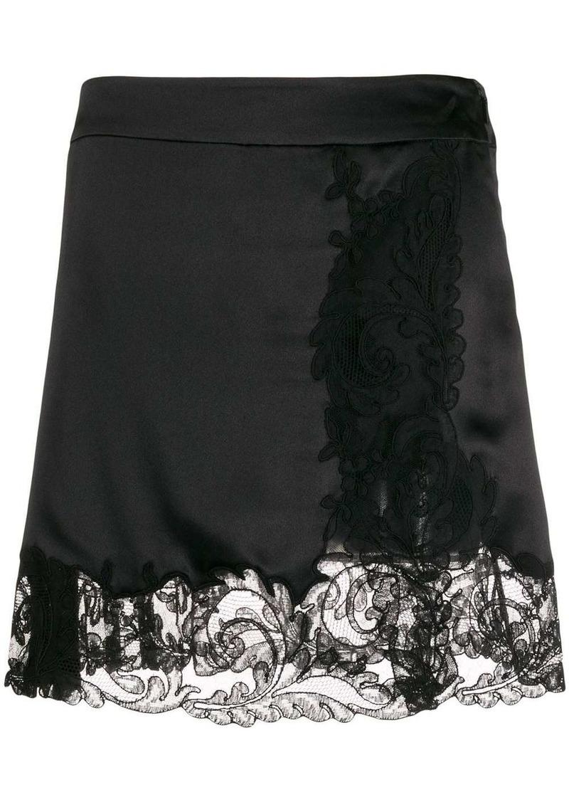Versace lace trim skirt