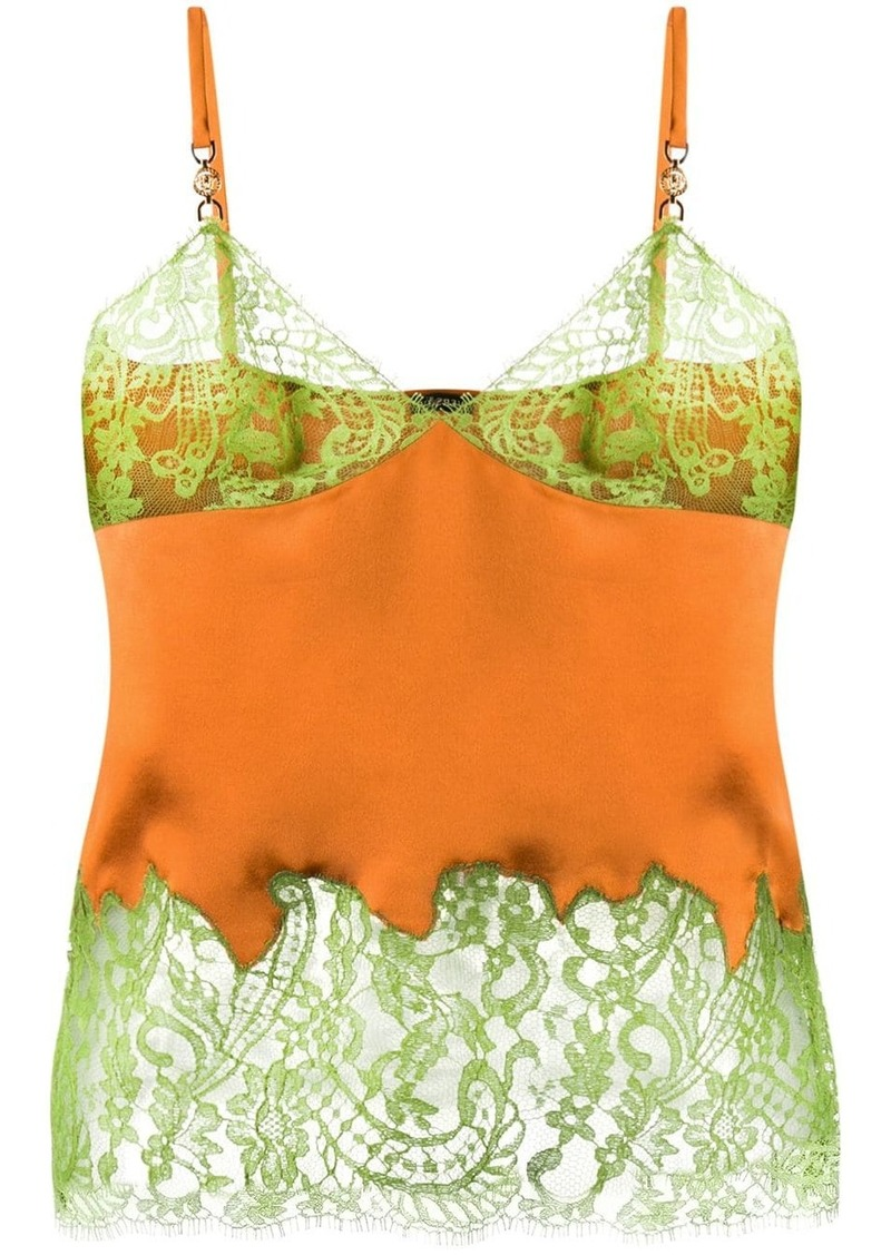 Versace lace-trimmed cami top