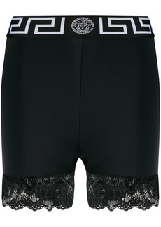 Versace lace-trimmed short leggings