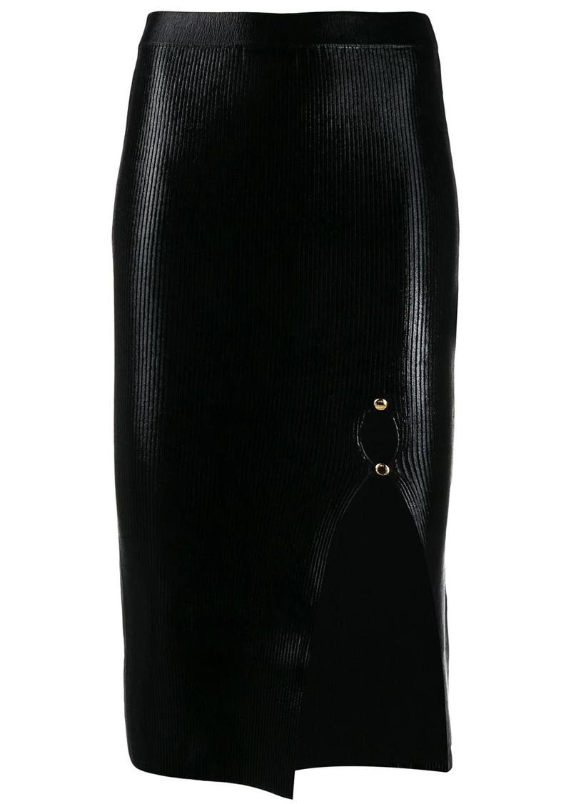 Versace laminated-texture midi skirt