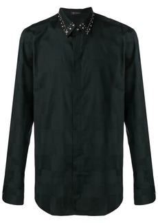 Versace large check embellished collar shirt