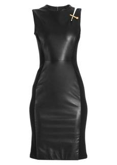 Versace Leather & Jersey Sleeveless Sheath Dress