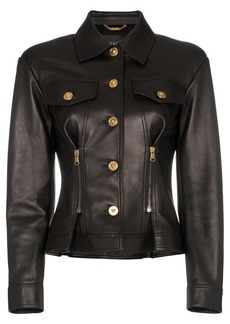 Versace leather button down zip detail jacket