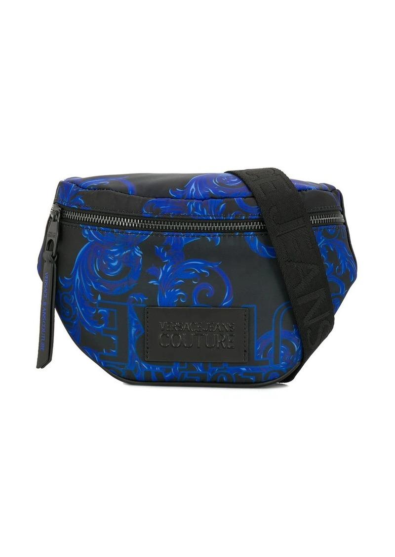 leather look pattern belt bag