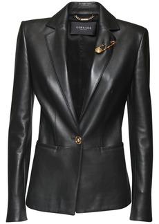 Versace Leather One Breast Blazer Jacket