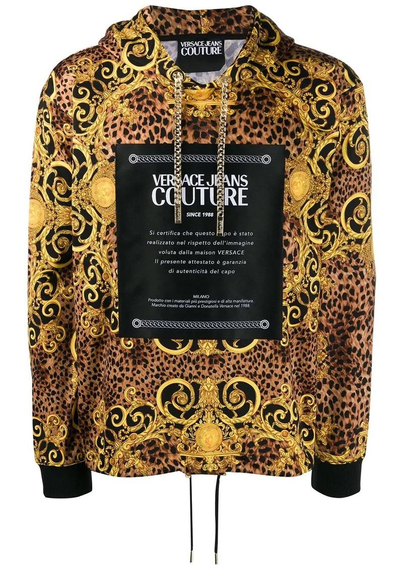 Versace leopard baroque print hoodie