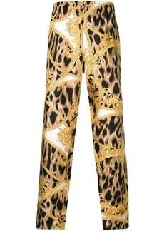 Versace leopard baroque print trousers