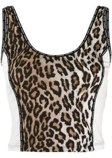 Versace leopard print cropped tank top