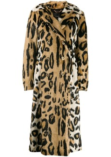 Versace leopard print double-breasted coat