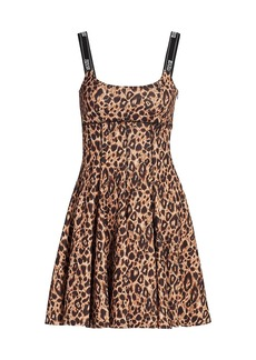 Versace Leopard Print Fit & Flare Dress