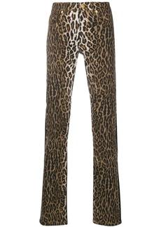 Versace leopard print panel jeans