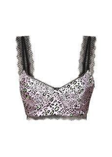 Versace Leopard Print Silk Twill Top W/ Lace