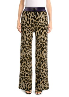 Versace Leopard Wide-Leg Knit Pants