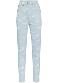 Versace light blue all over print jeans