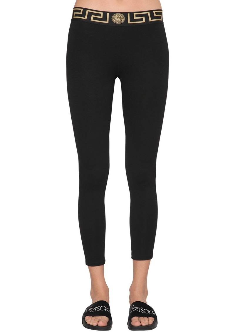 Versace Logo Band Viscose Leggings