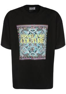 Versace Logo Bandana Print Cotton T-shirt
