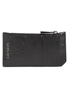Versace Logo Baroque Leather Zip Card Holder