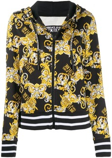 Versace Logo Baroque-print cotton hoodie